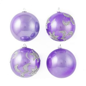 Purple Glitter Star Baubles 8Cm 4Pk