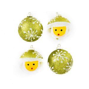Lime Snow Man Baubles 7Cm 4Pk