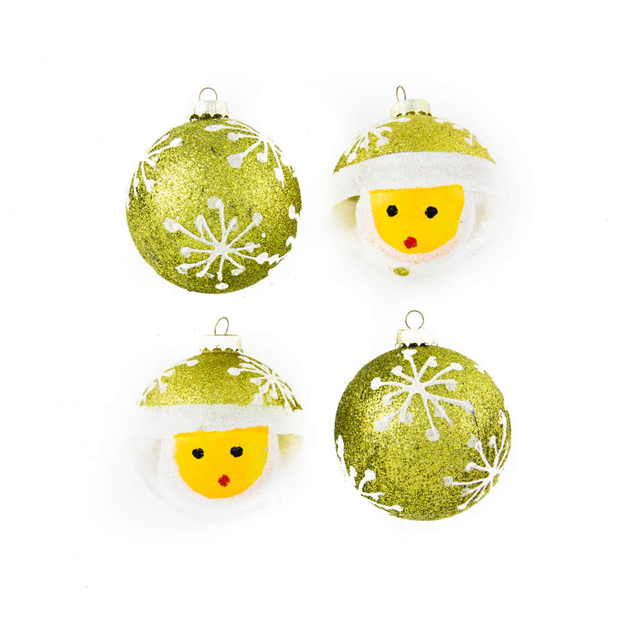 Lime Snow Man Baubles 7Cm 4Pk