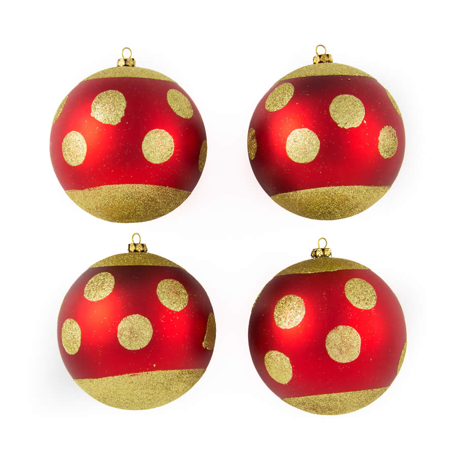 Red Polka Dot 10Cm 4Pk