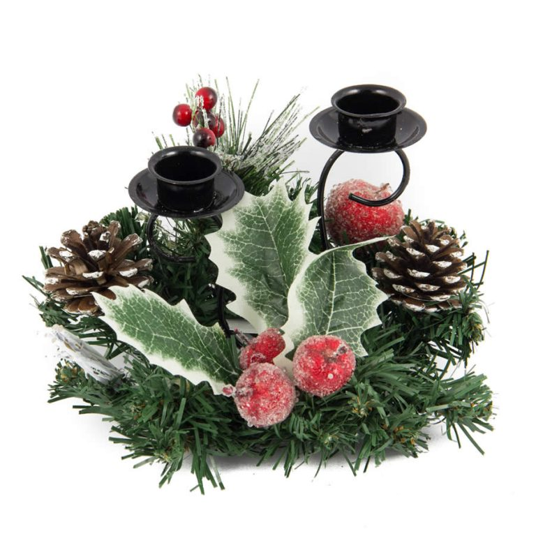 Holly Mini Table Centre Candle Holder - 20cm