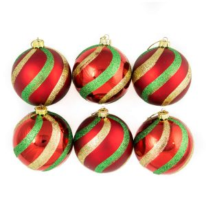 Christmas Stripe 8Cm Bauble 6Pk