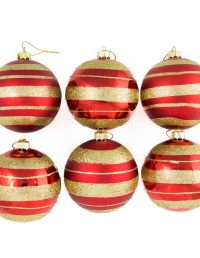 Red W/Gold Band 8Cm Bauble 6Pk