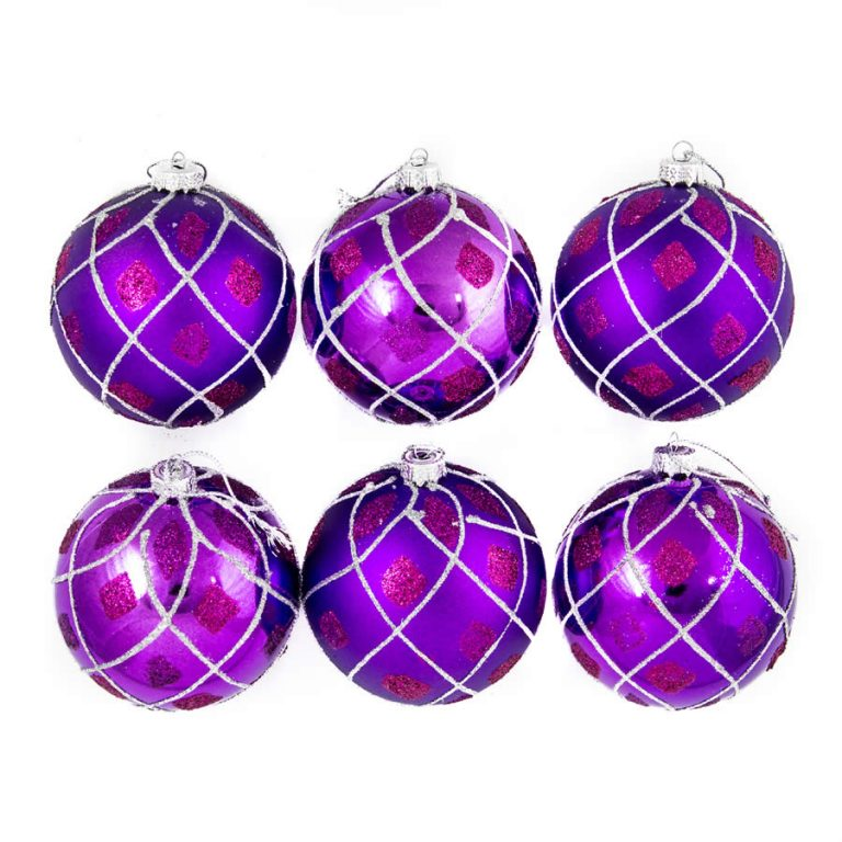 Purple Glitter Quilt Baubles 8Cm 6Pk