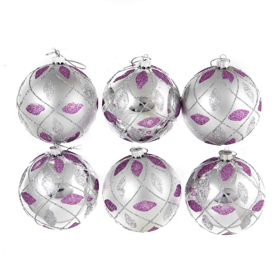 Silver/Purple Glitter Quilt Baubles 8Cm 6Pk