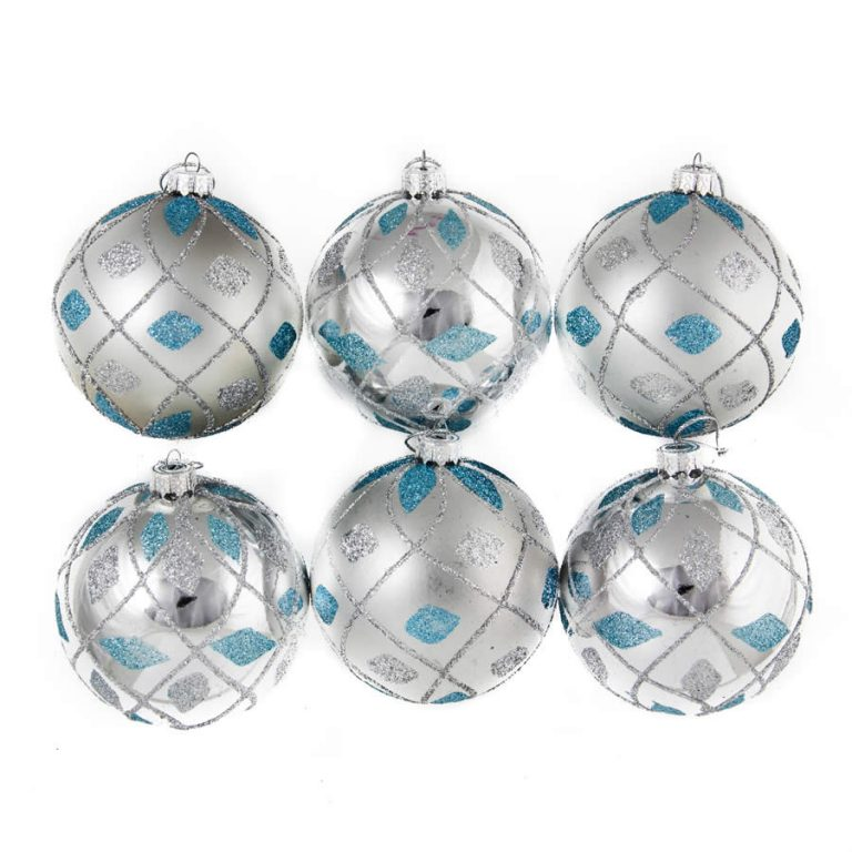 Silver/Blue Glitter Quilt Baubles 8Cm 6Pk