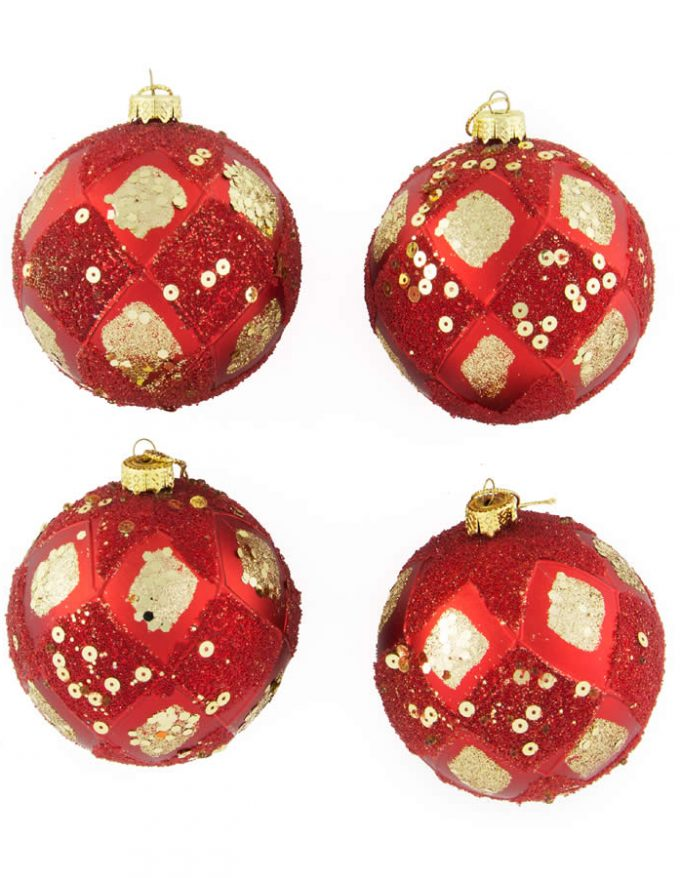 Red/Gold Sequin Baubles 8Cm 4Pk