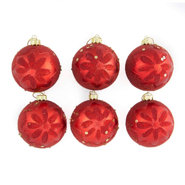 Red Embossed Baubles 8Cm 6Pk