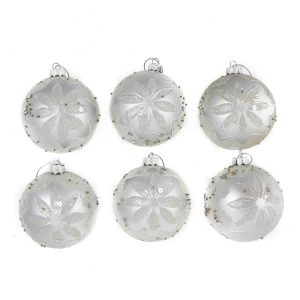 Silver Embossed Baubles 8Cm 6Pk