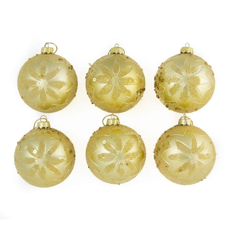 Gold Embossed Baubles 8Cm 6Pk