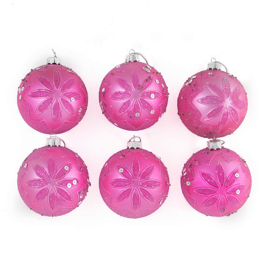 Pink Embossed Baubles 8Cm 6Pk