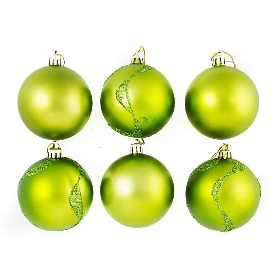 Lime Pearl Glitter Swirl 7cm 6Pk