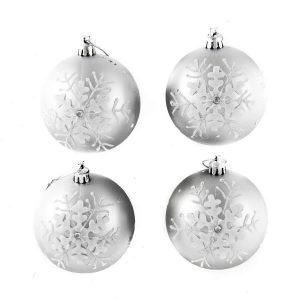 Silver Emboss Snowflake 8cm 4pk