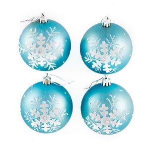 Ice Blue Emboss Snowflake 8cm 4pk