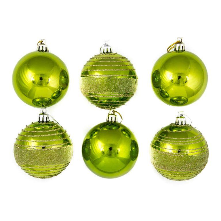 Lime Glitter Spun 7cm 6pk