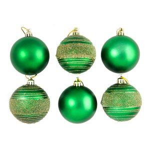 Green Glitter Spun 7cm 6pk