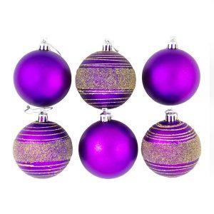 Purple Glitter Spun 7cm 6pk