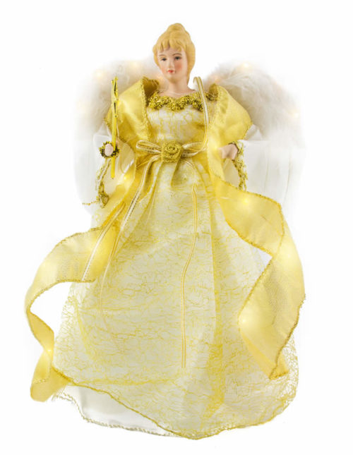 Gold Tree Top Angel 30cm LED b/op