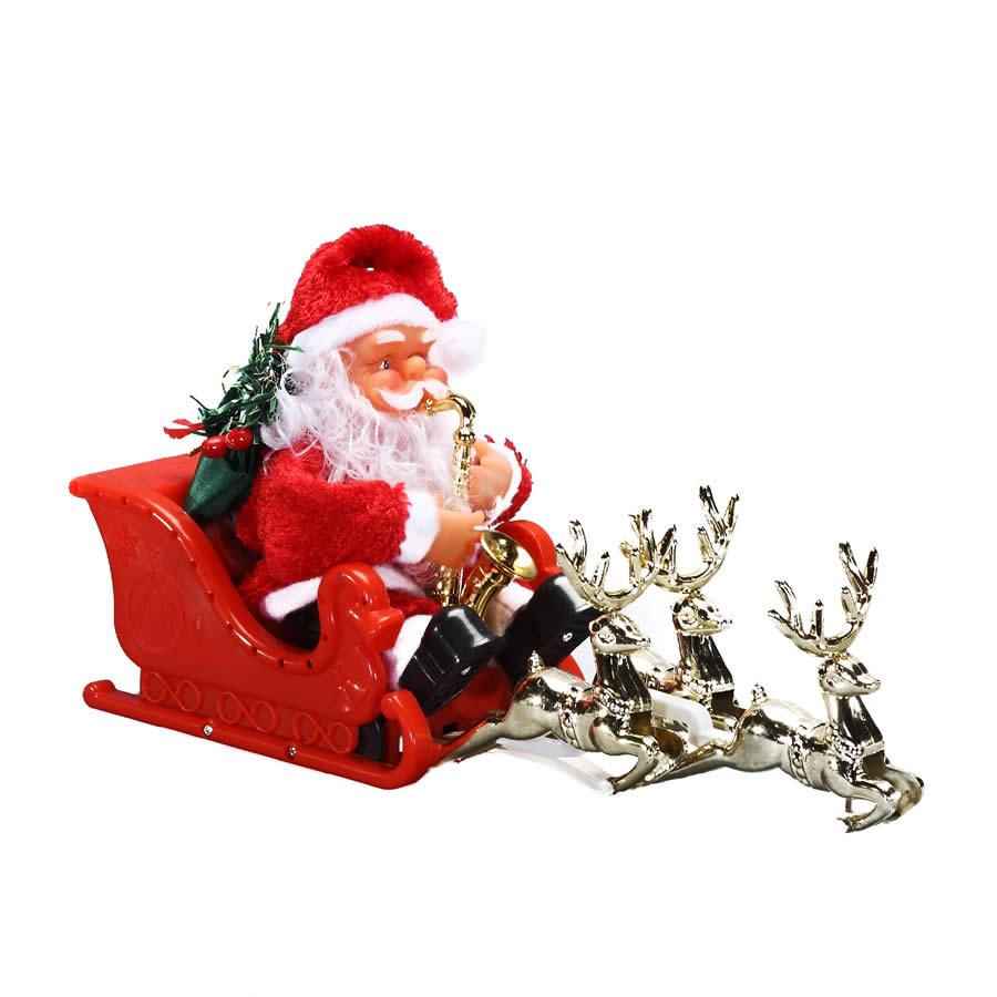 Santa With Sleigh Deer - 32cm