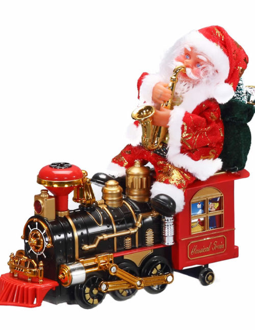 Santa On Train Animated - 35cm