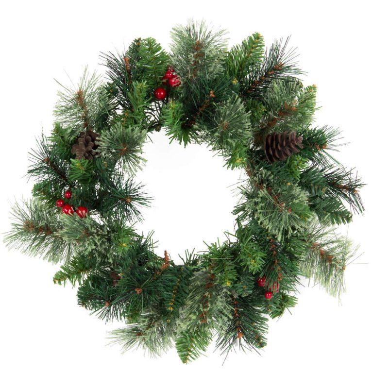 40cm Rustic Cashmere Berry & Pinecone wreath