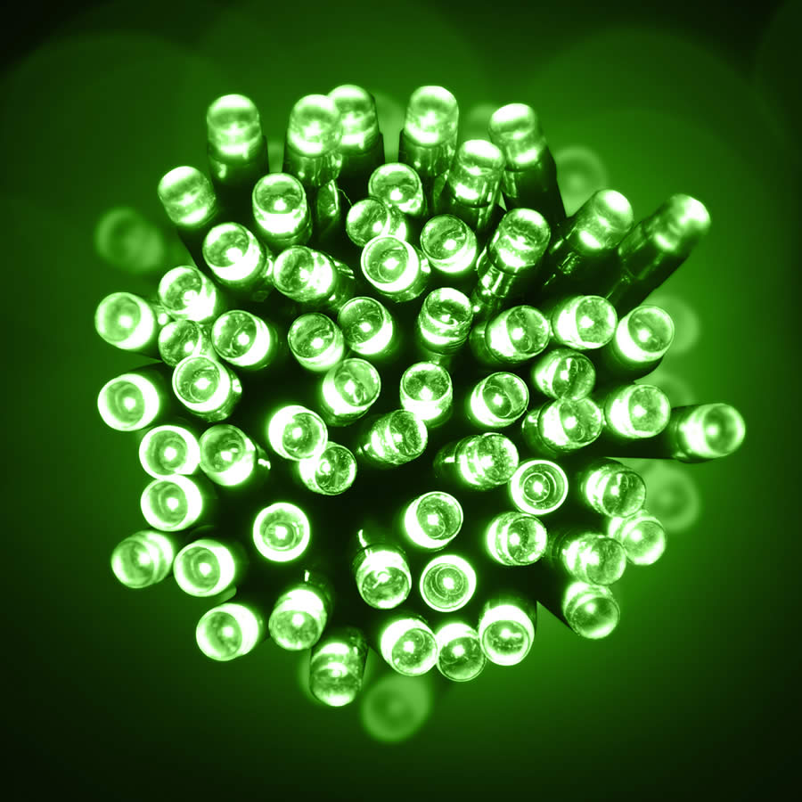 Green Christmas Lights.100 Led Green