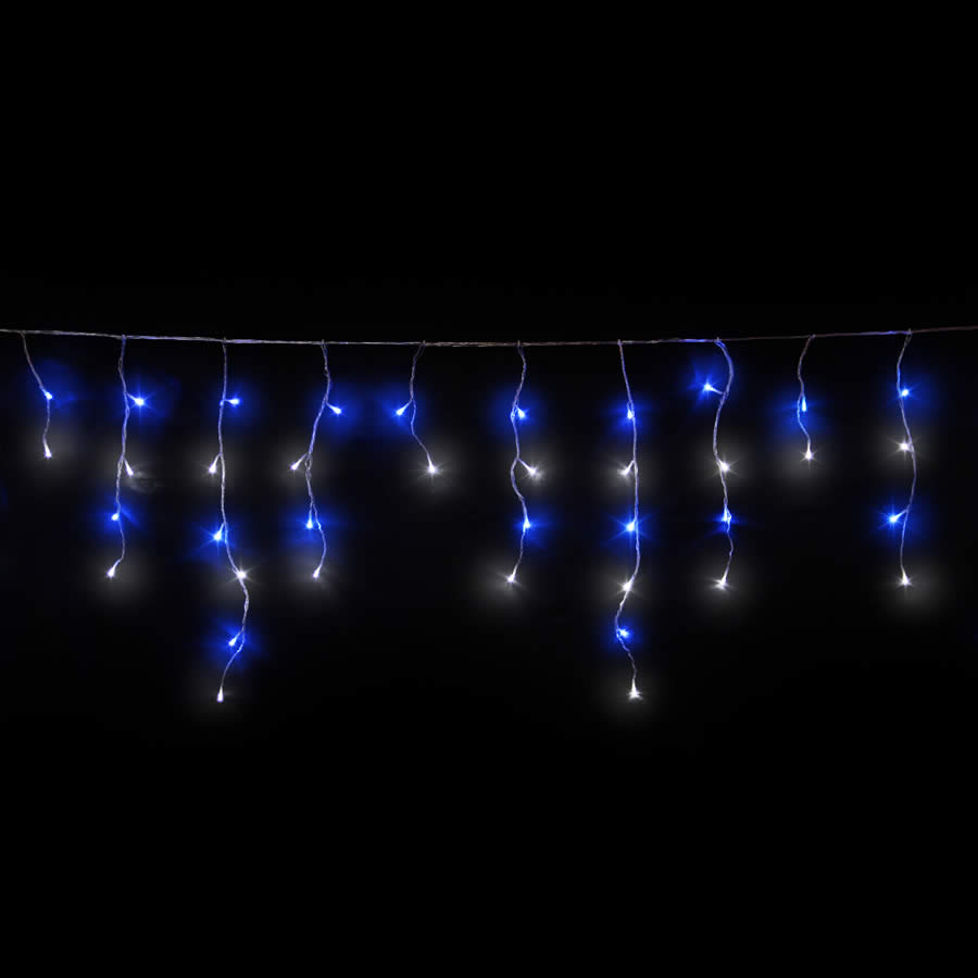blue and white led icicles christmas lights icicle lights. Black Bedroom Furniture Sets. Home Design Ideas