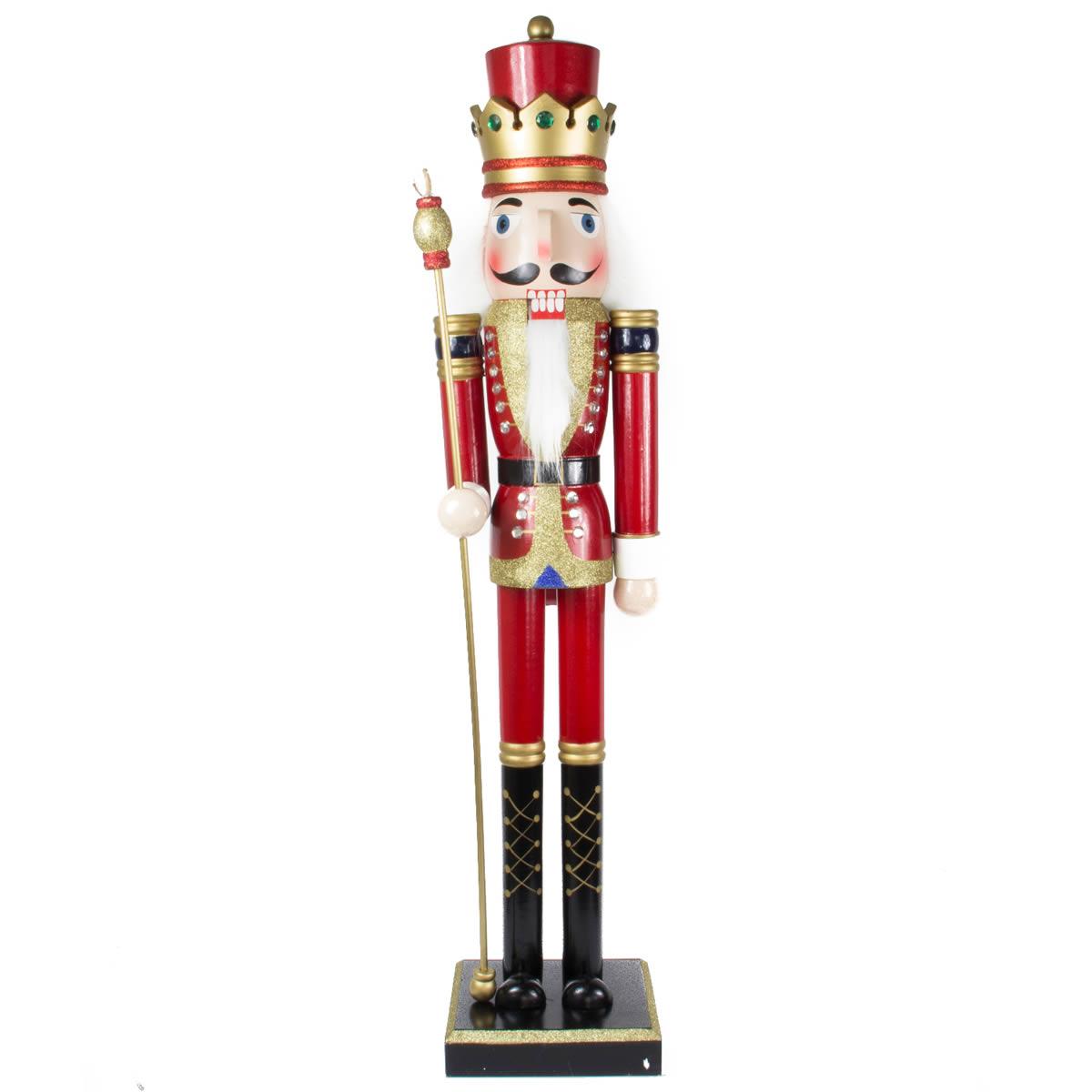 Red Nutcracker Glitter King 105cm
