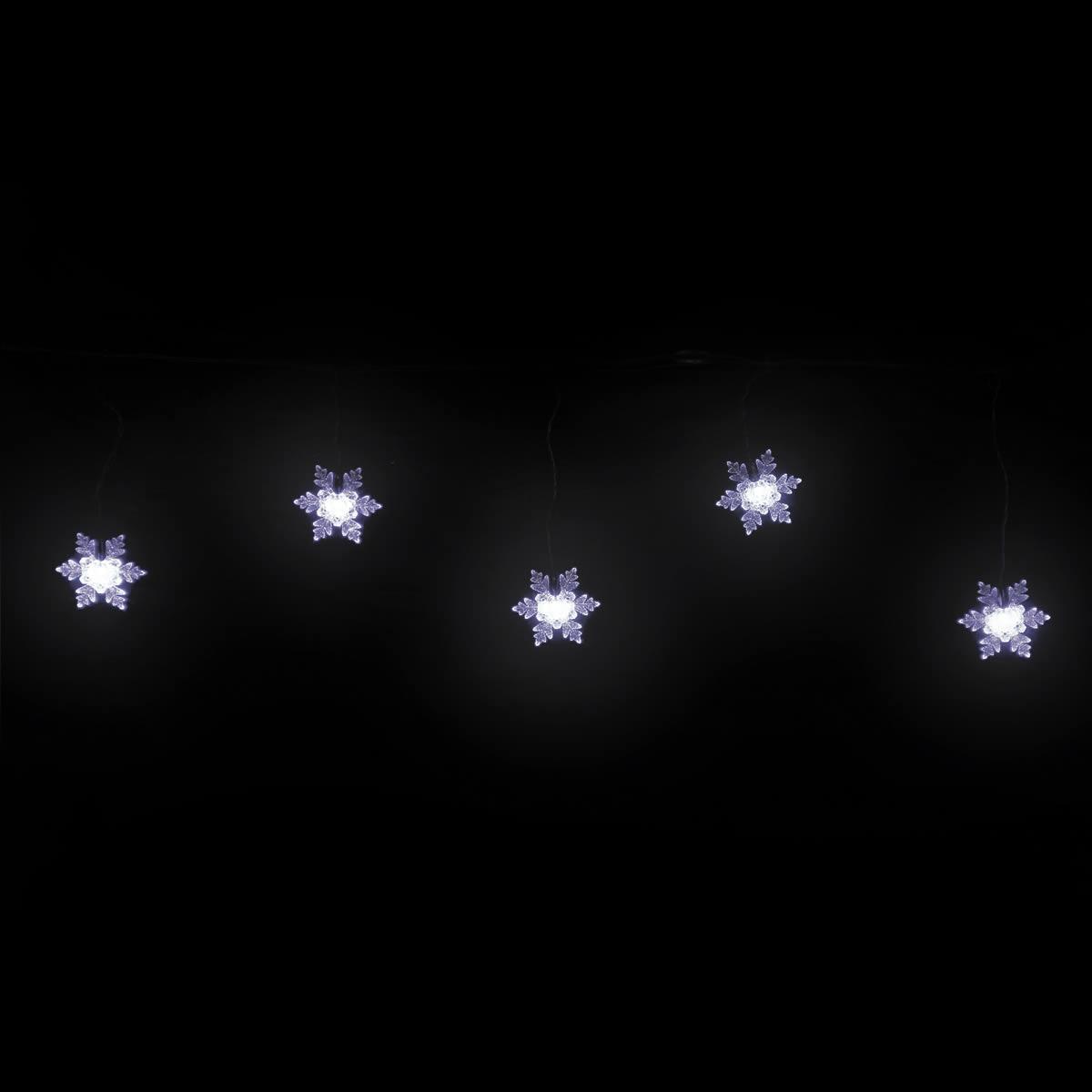 White Led Snowflake Icicle Large