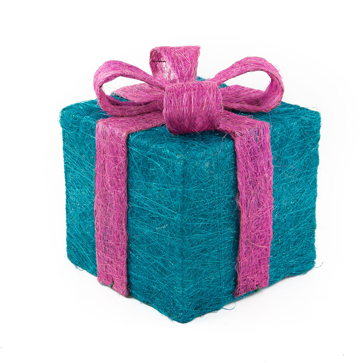 Blue with Pink Bow Sisal Gift Box 20cm