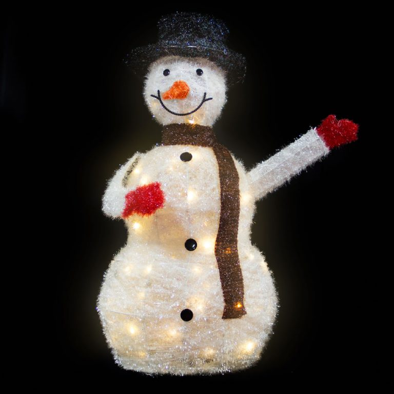 White LED Snowman Waving 90cm