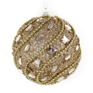 Champagne Jewled Bauble 10cm