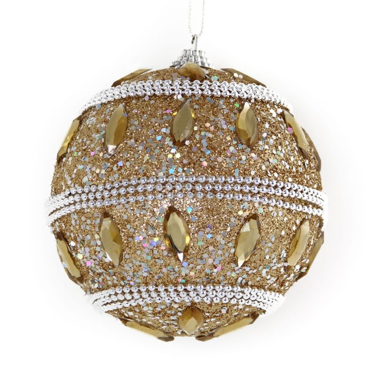 Champagne Beaded Bauble 10cm