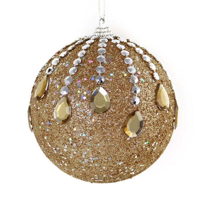 Champagne Jewel Drop Bauble 10cm