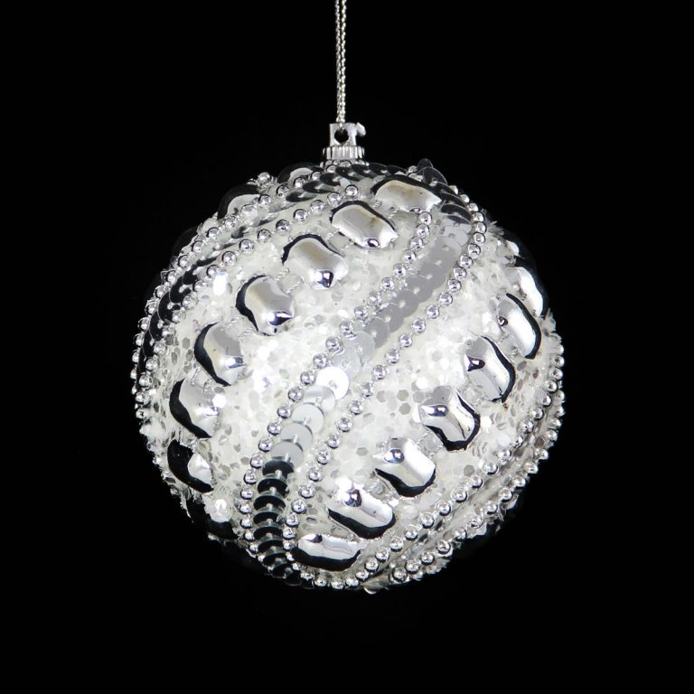 Silver Studed White Bauble 10cm