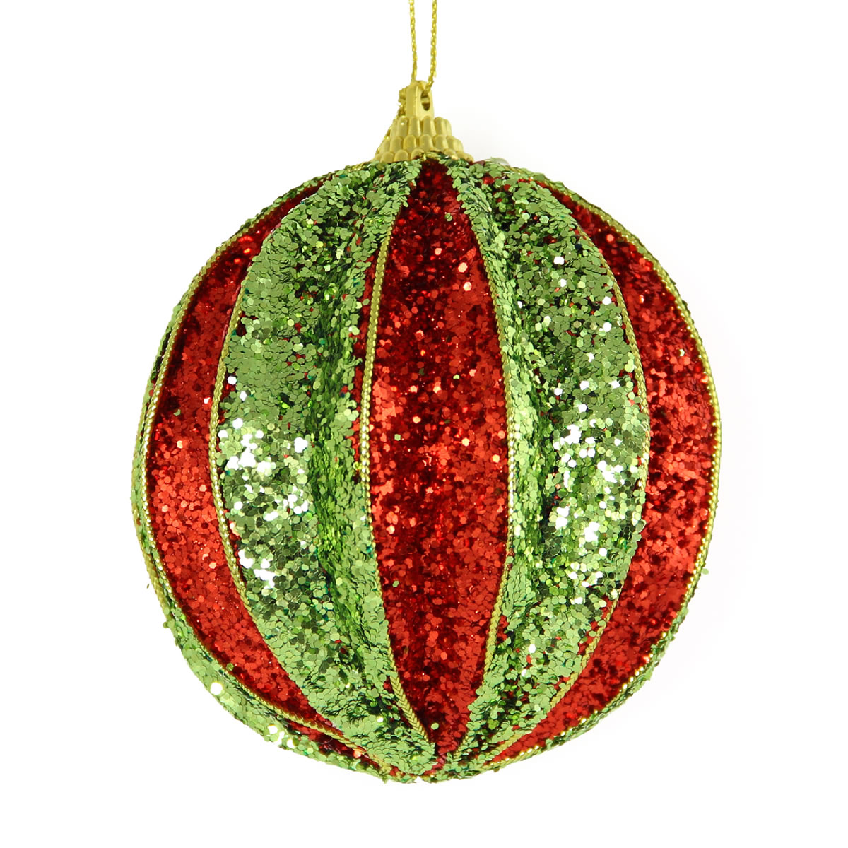 Red & Lime Segment Bauble 10cm