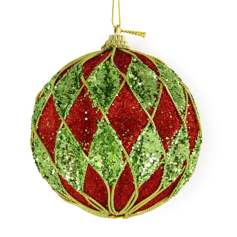 Red & Lime Diamond Bauble 10cm