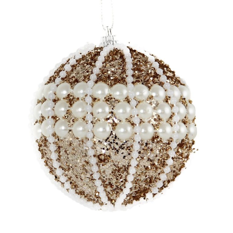 Champagne Pearl Bauble 8cm