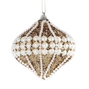 Champagne Pearl Onion Bauble 10cm