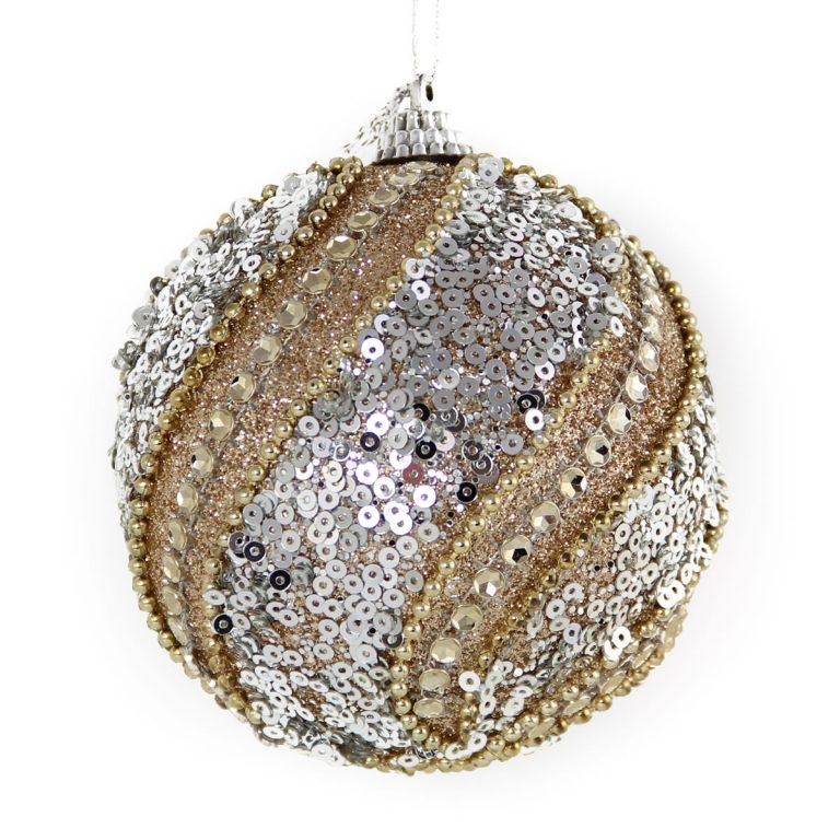 Champagne Sequin Diamante Bauble 10cm