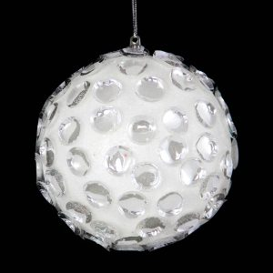 White Crystal Drops Bauble 10cm