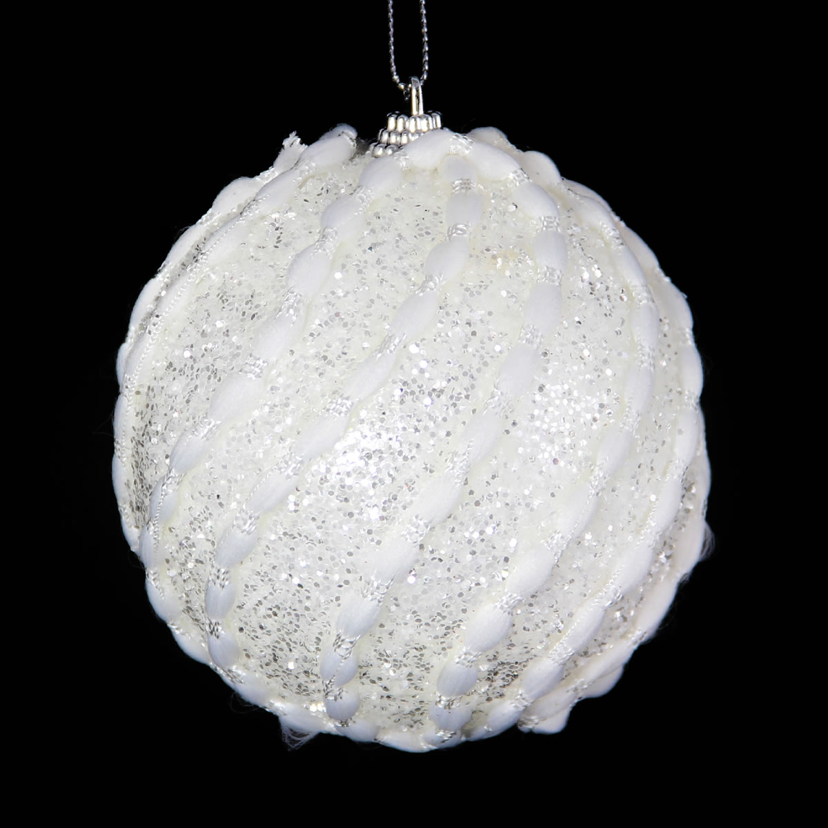 White Candy Floss Bauble 10cm