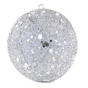 Silver Spun Bauble 20cm