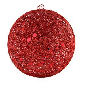 Red Spun Bauble 20cm