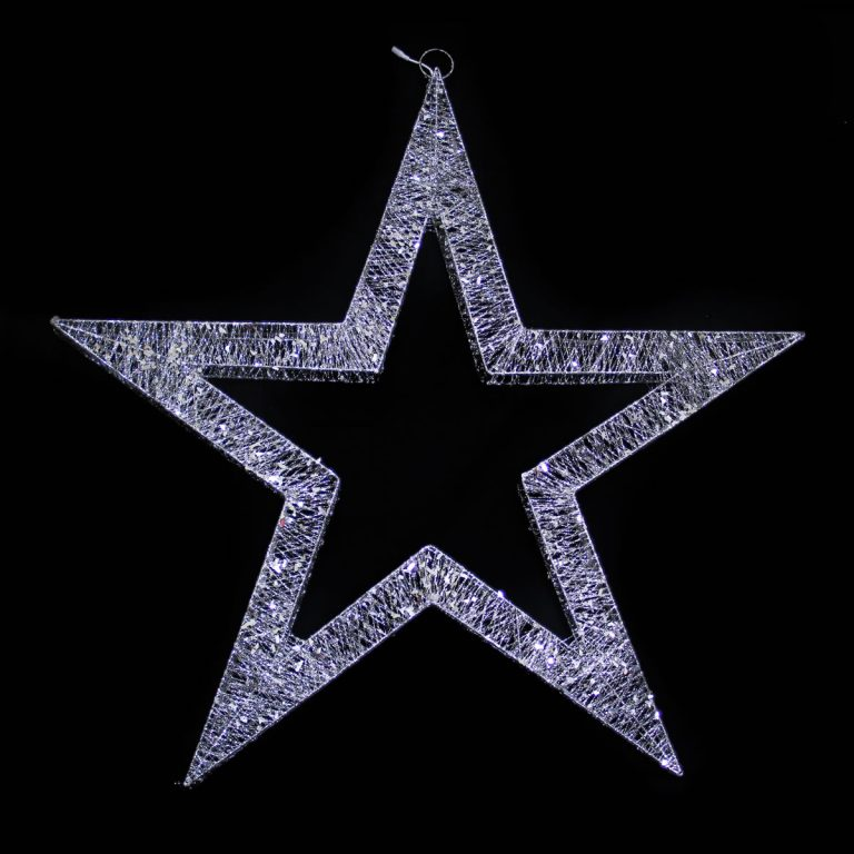 120cm Silver Spun Star with White Strip LED