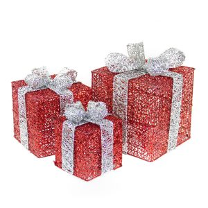 Red Spun Gift Box set of 3