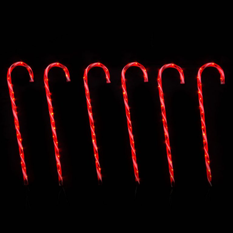 LED Candy Canes Red B.op s/6